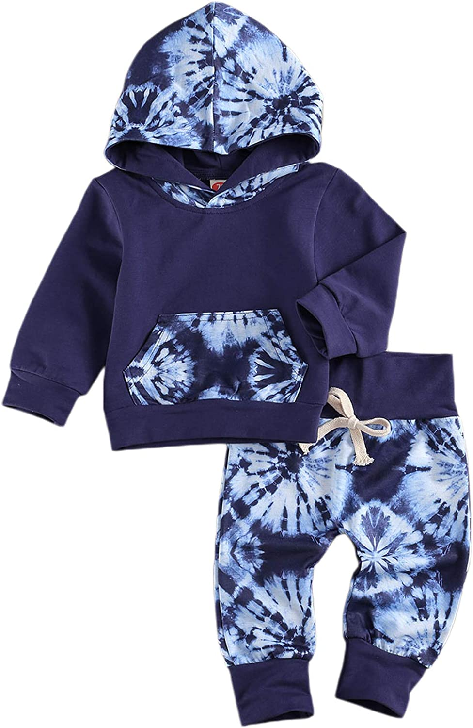 Baby Boy 's 2 Pieces Outfits Hooded Tie-dye Printed Sweater + Elastic Waist Trousers Outfits Set