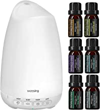 VicTsing Essential Oil Diffuser with Oils, Mini Aromatherapy Diffuser with 6 Pure Essential Oils Set, Sleep Mode and Auto ...