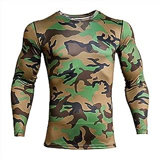 ZHPUAT Men's Camo Compression Shirt Cool Dry Long Sleeve Baselayer T-Shirt for Men