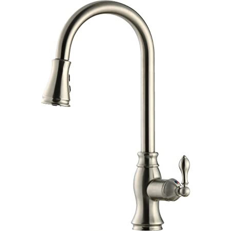 Derengge Fk C258 Bn Tud Single Handle Pull Down Kitchen Faucet 1 Hole Installation Cupc Nsf61 9 And Ab1953 Lead Free Certification Brushed Nickel Finished