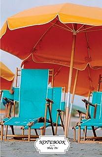 Notebook: Beach deckchairs umbrellas: Journal Dot-Grid, Graph, Lined, Blank No Lined, Small Pocket Notebook Journal Diary,...