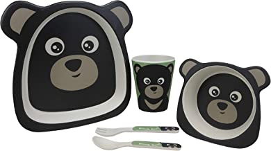 Ebros Whimsical Black Bear Cub 5 Piece Dinnerware Set For Kids Children Toddler Baby Made Of BPA Free Eco Friendly Organic...