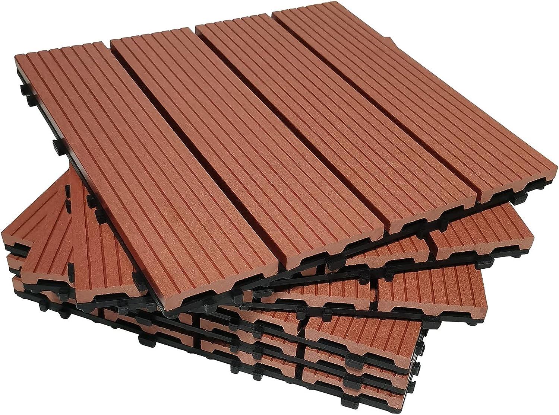 Bretoes Baldosas de Terraza Entrelazadas 30 x 30 cm Para Exterior (6 Piezas, Rojo-marrón)