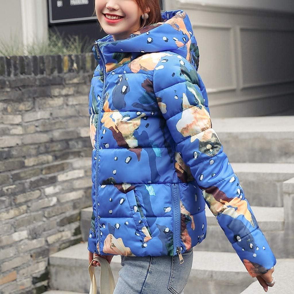 Eaylis Damen Winterjacke Wintermantel,Winter Print Kapuzenjacke Mantel Farbe: Pink, Blau, Gelb Blau