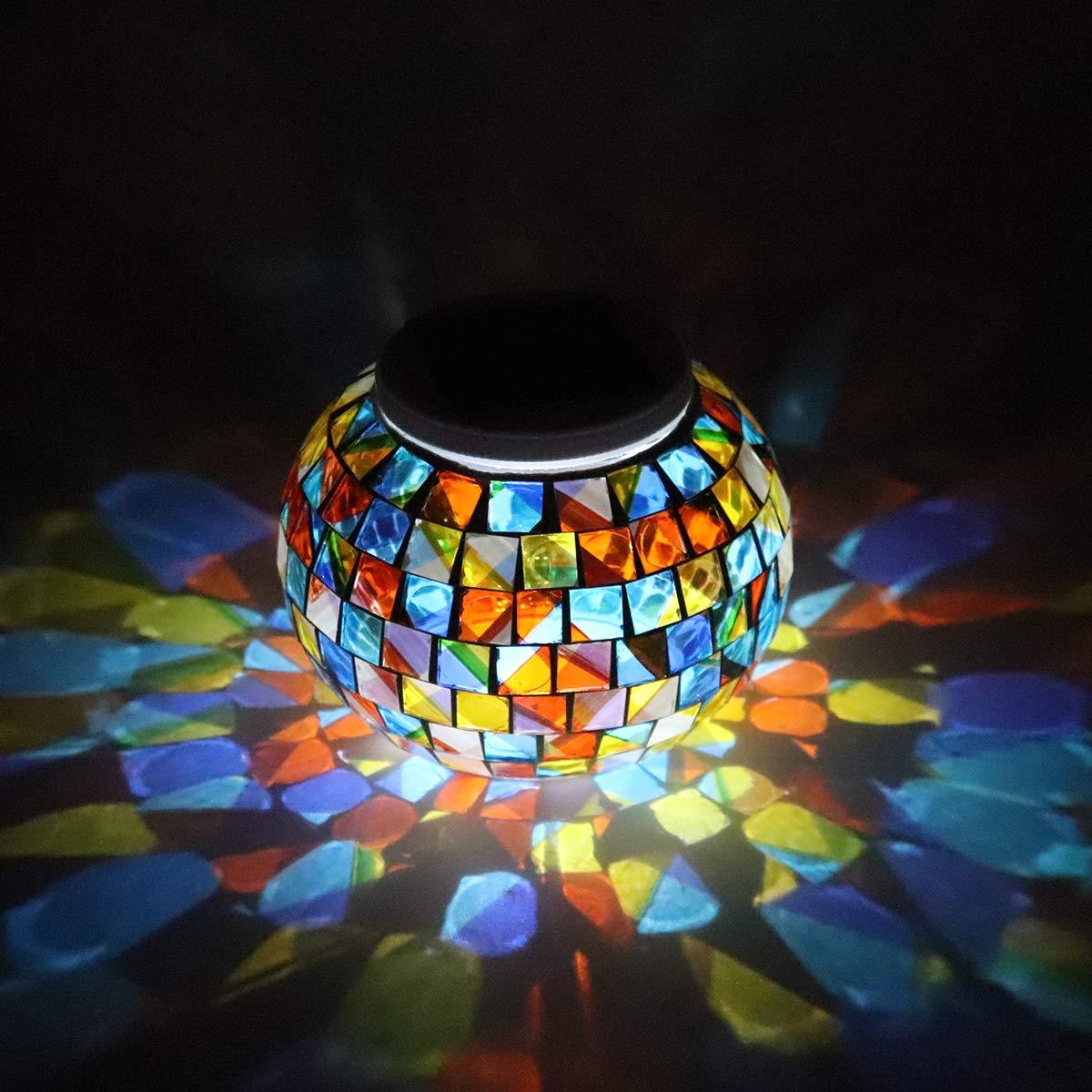 Welltop Luces solares de mosaico, bolas de cristal impermeables para jardín, luces que cambian de color, luces de noche, tarro de cristal, luces solares para patio, jardín: Amazon.es: Iluminación