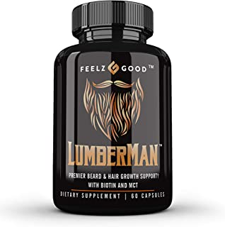 Lumberman™ Premier Beard Growth & Hair Growth Vitamin Formula - Beard Growth Kit - Biotin 10000mcg - MCT Oi...