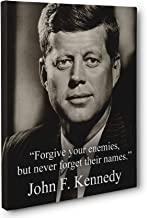 Never Forget Enemy Names, John F. Kennedy Quote CANVAS