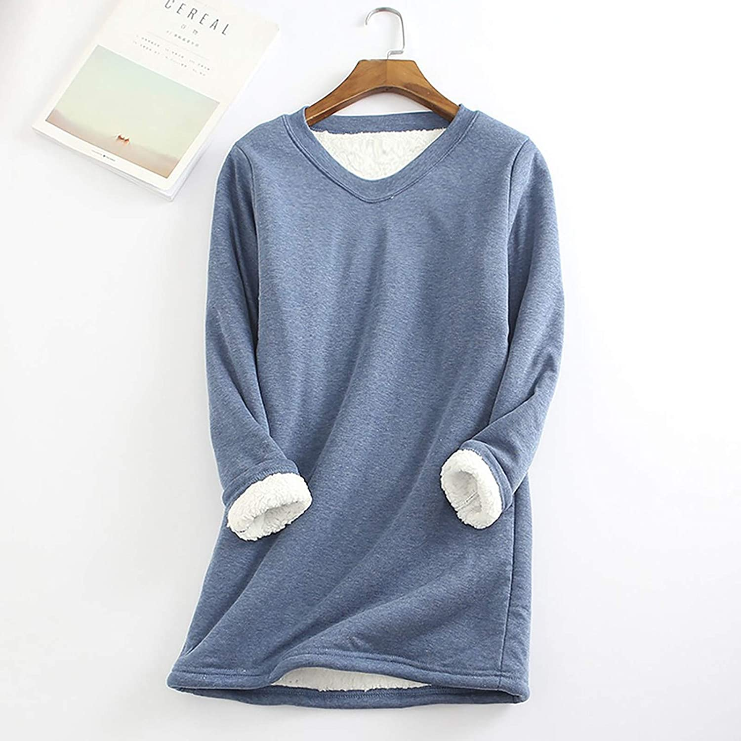 Christmas Solid Warm Sherpa Fleece Lined Crewneck Undershirt Tees Tops Blouse Loungewear Thatso Women Thermal Underwear