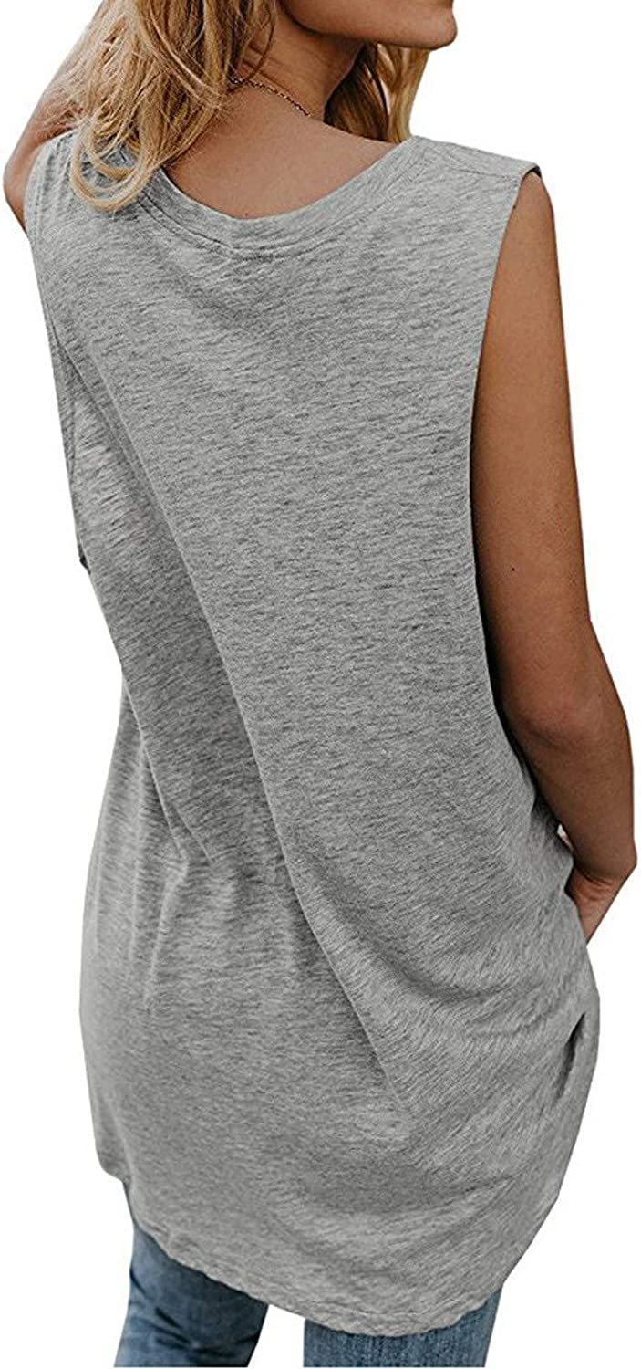 Honiser Women's Fashion V-Neck Vest, Summer Casual Sleeveless Solid Color Loose Personalized Top Shirt