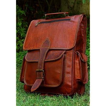 16 Inch Genuine Leather Retro Rucksack Backpack Bag , Picnic Bag Travel