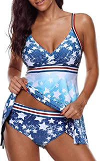 Women's Americal Flag Swimsuit Independence Day Swimdress Tankini Set Two Pieces Swimwear Bathing Suit July 4th