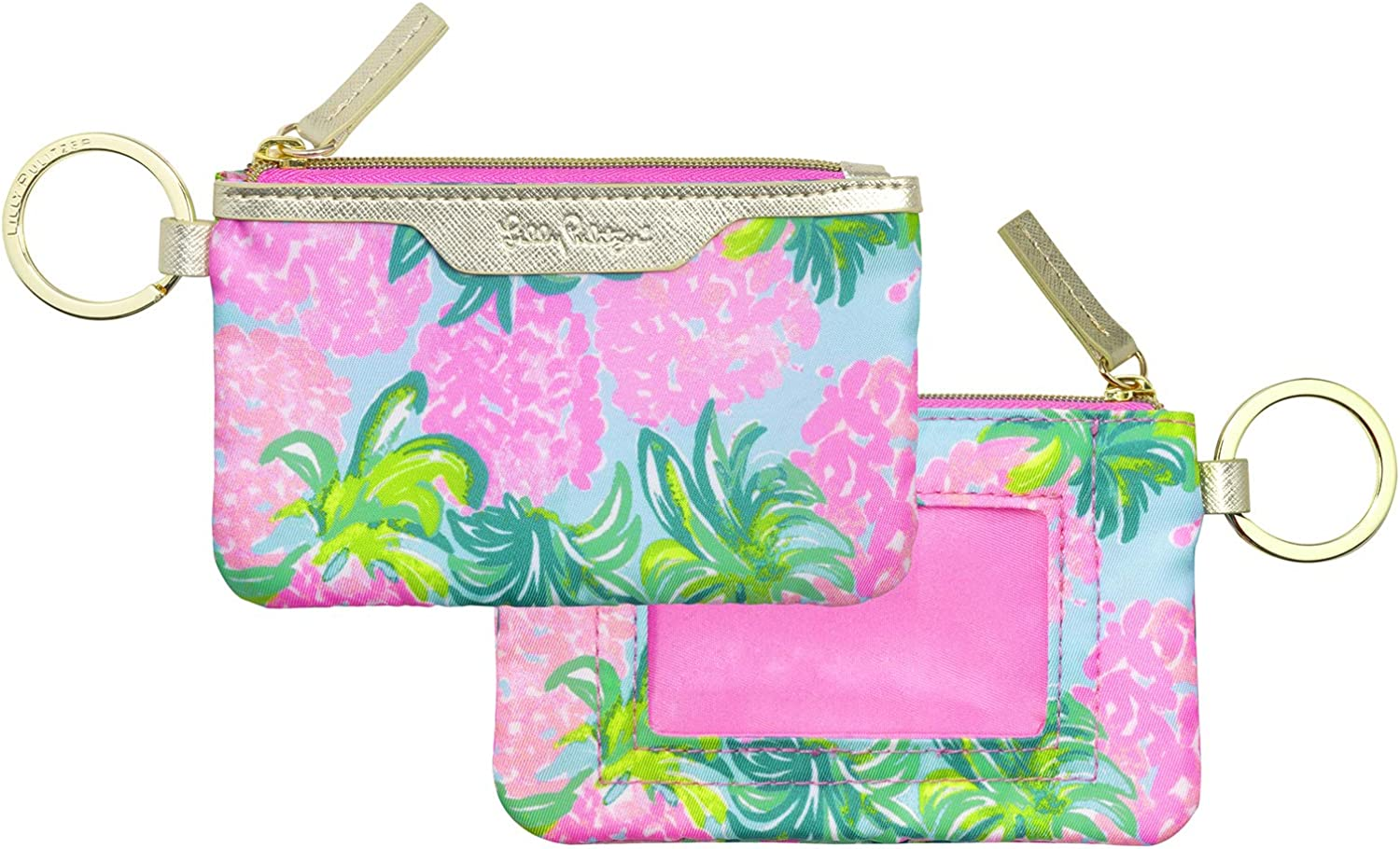 Lilly Pulitzer ID Case Keychain Wallet with Zip Close, Cute Durable Card Holder for Women Teen Girls, Pineapple Shake