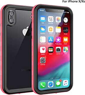 Fansteck iPhone X/iPhone Xs Waterproof Case, IP68 Waterproof/Snowproof/Shockproof/Dirtproof, Full-Body Protective Case with Built-in Screen Protector (5.8-inch) (Black/Pink)