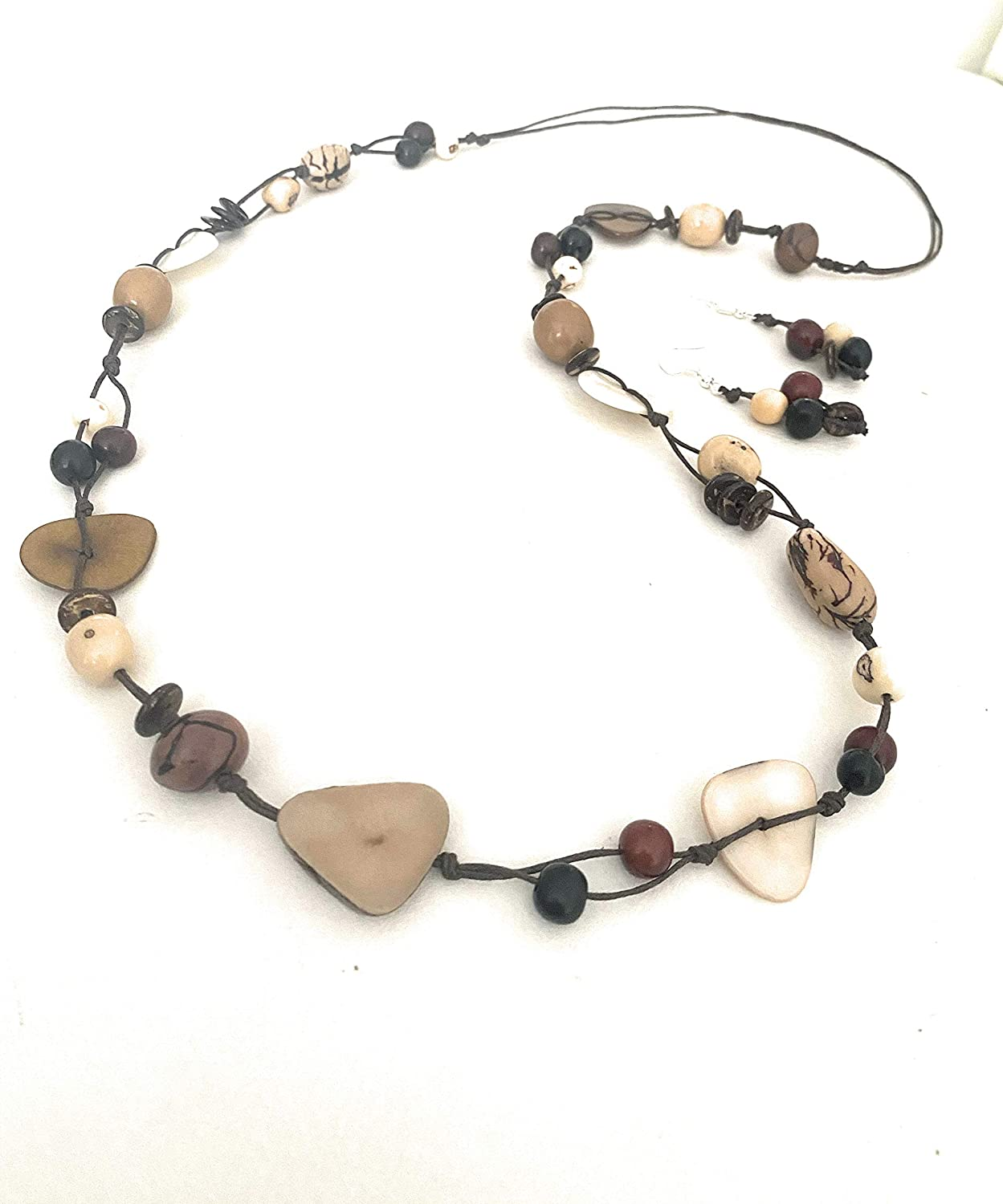 Tagua Nut Necklace Long Tagua Necklace and Earrings in Brown, Beige and Brown TAG541B Set, Vegetable Ivory Organic Handmade Tagua Nut Jewelry