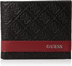 Guess Men's Leather Slim Wallet- Bifold With Fashion Details