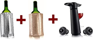 Vacu Vin Two Active Wine Coolers - Silver and Platinum, bundle with Vacu Vin Wine Saver with 2 Vacuum Stoppers – Black