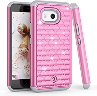 TILL for HTC U11 Case, U11 Cover, TILL(TM) Studded Rhinestone Crystal Bling Diamond Sparkly Luxury Shock Absorbing Hybrid Dual Layer Rugged Defender Cute Glitter Case Cover for HTC U11 5.5INCH [Pink]