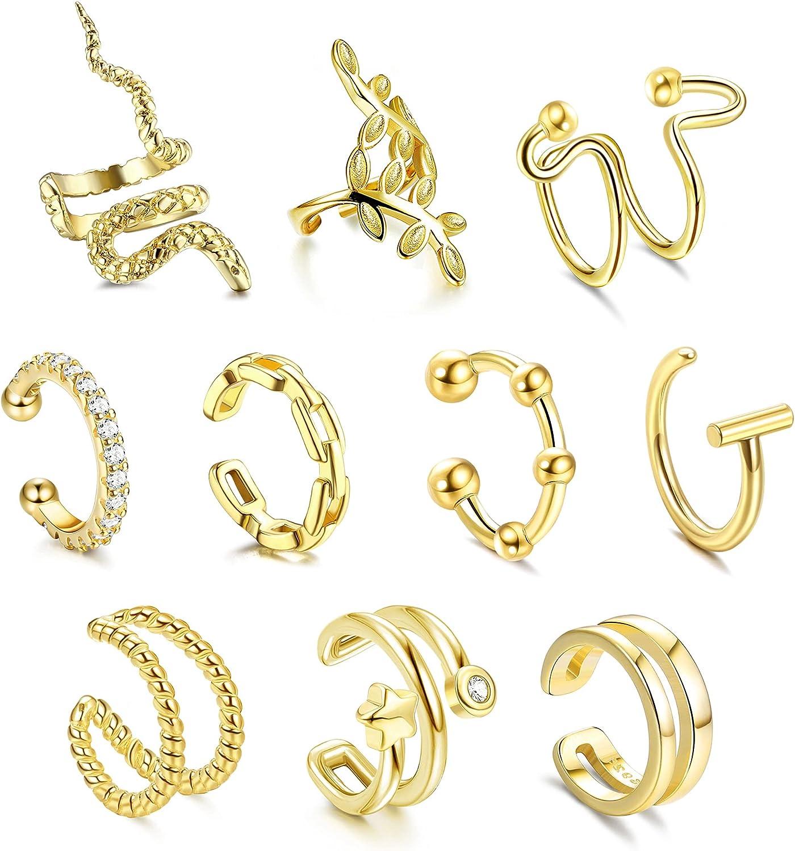FUNRUN JEWELRY 10PCS Women's Adjustable E Cuffs Popular Year-end gift Non-Piercing Ear