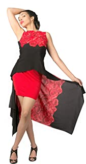 c7e1037a7d65d Red rose ackless Argentine tango top. Signature BUTTERFLY low back  sleeveless tunic. Elegant Dancewear