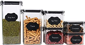 Airtight Food Storage Containers Set with Lids, 6pcs BPA Free Plastic Dry Food Canisters for Kitchen Pantry Organization and Storage, Dishwasher Safe,Include 8 Labels, Black & Marker Pen