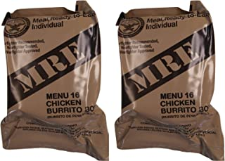 TWO (2) NEW MRE's 2020 - 2021 1st Insp. date - US Military Meals Ready-to-Eat w/FREE DESSERT! (Two 16's - Chicken Burrito Bowl)