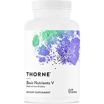 Thorne Research - Basic Nutrients V with Copper and Without Iron or Iodine - Complete Multiple Vitamin-Mineral Supplement Without Iron or Iodine - 180 Capsules