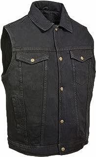 Men's Snap Front Denim Vest W/Shirt Collar (Black, XL)