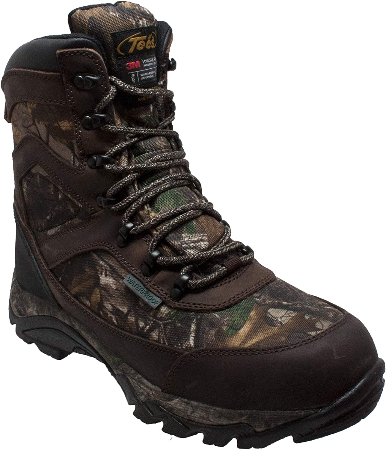 TECS Men's 9  Leather Boots  Waterproof for Hunting, Fishing, Hiking or Outdoors 400g