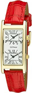 Woman's Gold-Tone Dual Time Red Leather Strap Watch # GWC15090GR