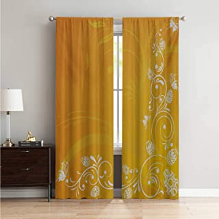 Mozenou Microfiber Window Panel Pair Curtains for Living Room Orange,Easter Themed Abstract Composition with Ornate Flora Eggs and Butterflies,Orange Yellow White W96 x L108 Inch