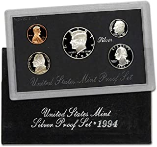 1994 S U.S. Silver Proof 5 Coin Set in Original Box with Certificate of Authenticity Proof