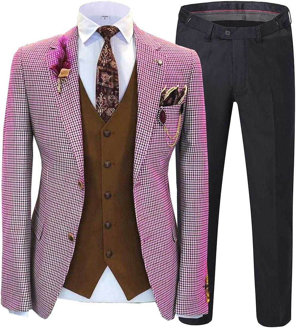 Blazer+Pants+Suede Waistcoat Mens Suit 3 Piece Check Wool Blend Classic Fit Tweed Houndstooth Pointed Collar Jacket Prom Wedding Groomsmen