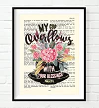 Vintage Bible Page Verse Scripture - My Cup Overflows with Your Blessings - Psalm 23:5 Art Print, Unframed, Christian Wall and Home Decor Poster, All Sizes