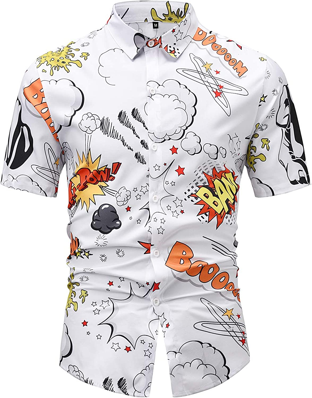 TassSuo Mens Summer Casual Shirt Printing Graffiti White Short Sleeved Shirts Graphic Button Down Hawaiian Shirts