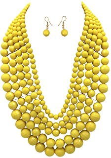 Flat Rate Shipping Casual Jewelry Gift Boxed 25.5 inches Yellow Seed Bead Necklace Layering Necklace Autumn Jewelry
