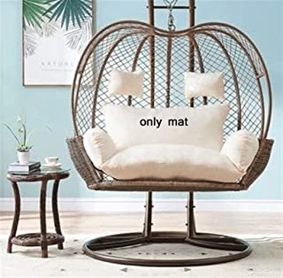 Garden Patio Rattan Swing Chair Cushion, 2 Persons Seater Egg Nest Chair Pad Swing Seat Mat for Indoor Outdoor Patio Backy...