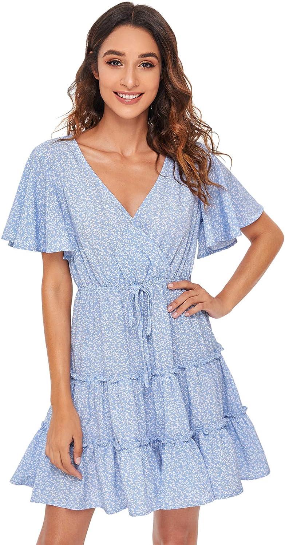 SheIn Women's Short Ruffle Sleeve Dress V Neck Floral Pleated High Waist Loose Mini Dress