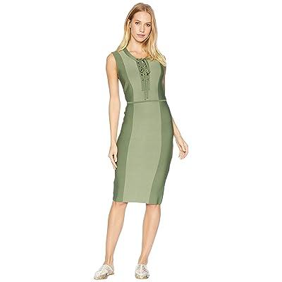 BCBGMAXAZRIA Safari Fitted Dress (Earth Green Combo) Women