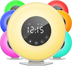 hOmeLabs Sunrise Alarm Clock - Digital LED Clock with 6 Color Switch and FM Radio for Bedrooms - Multiple Nature Sounds Su...