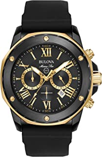 bulova mens watch black and gold