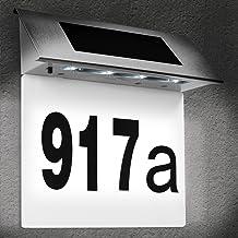 Zonne Energie LED Roestvrij Stalen Huisnummer met 4 Sterke LEDs Buiten Muur Verlichting Wit