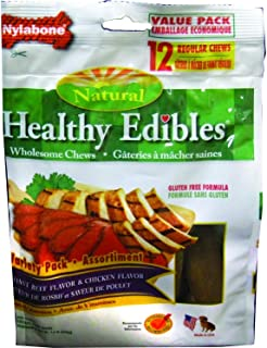 Nylabone Healthy Edibles Dog Treats with Vitamins, Chicken and Roast Beef, Regular, 12 Count, 12 Pack