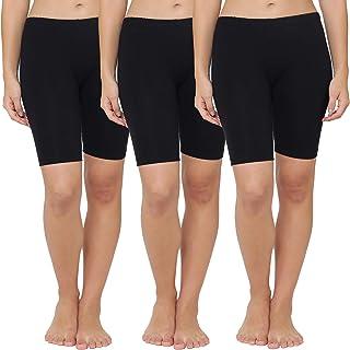 LEADING LADY Women's Plain/Solid Boy Shorts (Pack of 3) (426_Black_2XL)