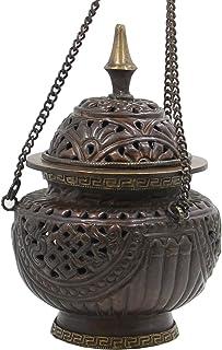 "DharmaObjects Tibetan Hanging Incense Burner ~ Copper w/Tibetan Symbols ~ 5"" High"