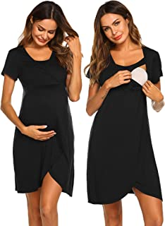 Ekouaer Nursing Dress,Maternity Nightgown Women's Delivery/Labor Breastfeeding Sleep Dress