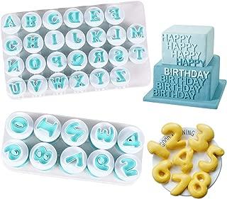 Alphabet Letter Numbers Cake Mould Set, BENBO 36Pcs Fondant Cake Sugar Craft Cookies Stamp Impress Embosser Plunger Cutter Mold Biscuit Decorating Tools