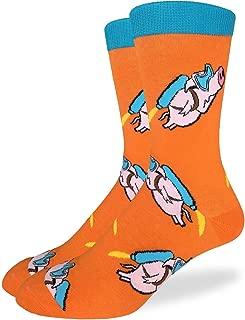 Good Luck Sock Men's Flying Pigs Crew Socks - Orange, Adult Shoe Size 7-12
