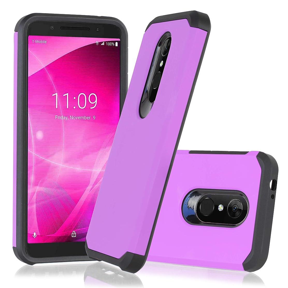 T-Mobile Revvl 2 (5.5 inch) 2018 Cover Heavy Duty Defender Shock Proof Impact Resist Dual Layer Hybrid Protective Combo TPU Phone Case for Alcatel Revvl 2 (Purple)
