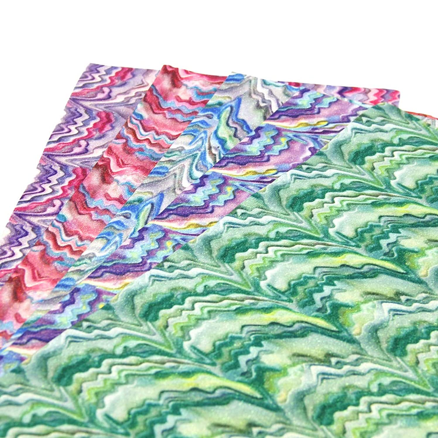 David Angie Glitter Rainbow Chevron Synthetic Leather Sheets 5 Pcs 8