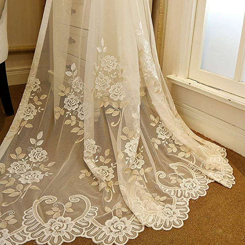 AliFish Romantic Embroidered Sheer Curtains Floral Tulle Gauze Curtains Rod Pocket Country Style Luxury Lace Voile Window Drape Panel Net Mesh Curtains For Living Room Beige 1 Panel W39 X L84 Inch